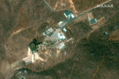 This satellite image provided by DigitalGlobe, was captured on March 2, 2019, and shows the rocket test stand at the Sohae Satellite Launch Facility in Tongchang-ri, North Korea. North Korea is re ...