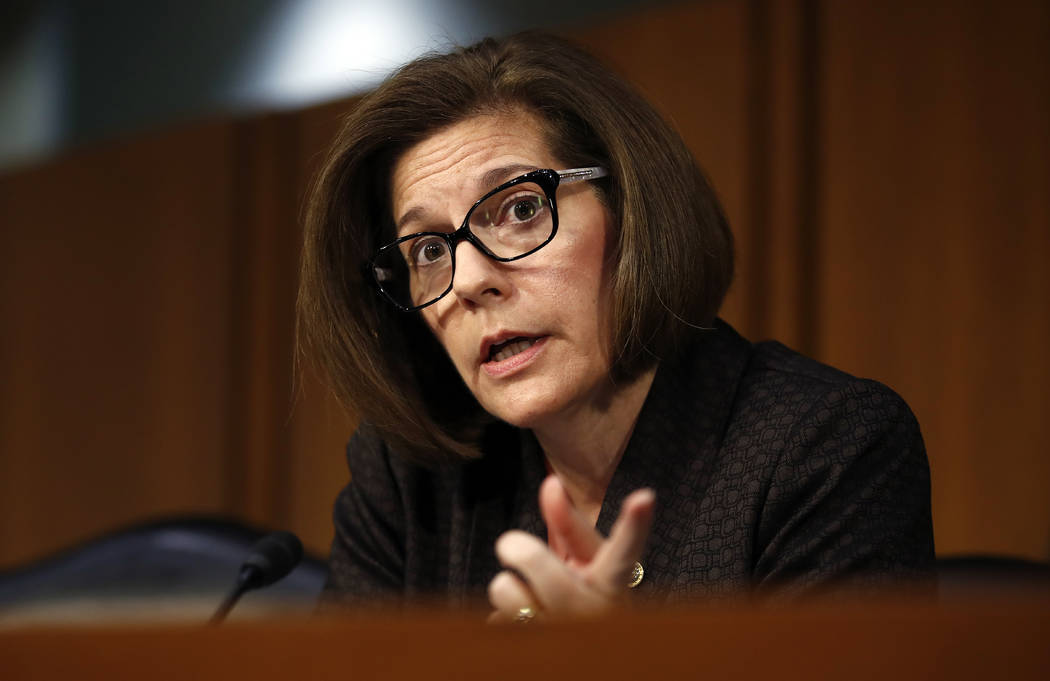 Senate Banking, Housing, and Urban Affairs Committee member, Sen. Catherine Cortez Masto, D-Nev., questions Jerome Powell, President Donald Trump's nominee for chairman of the Federal Reserve, dur ...