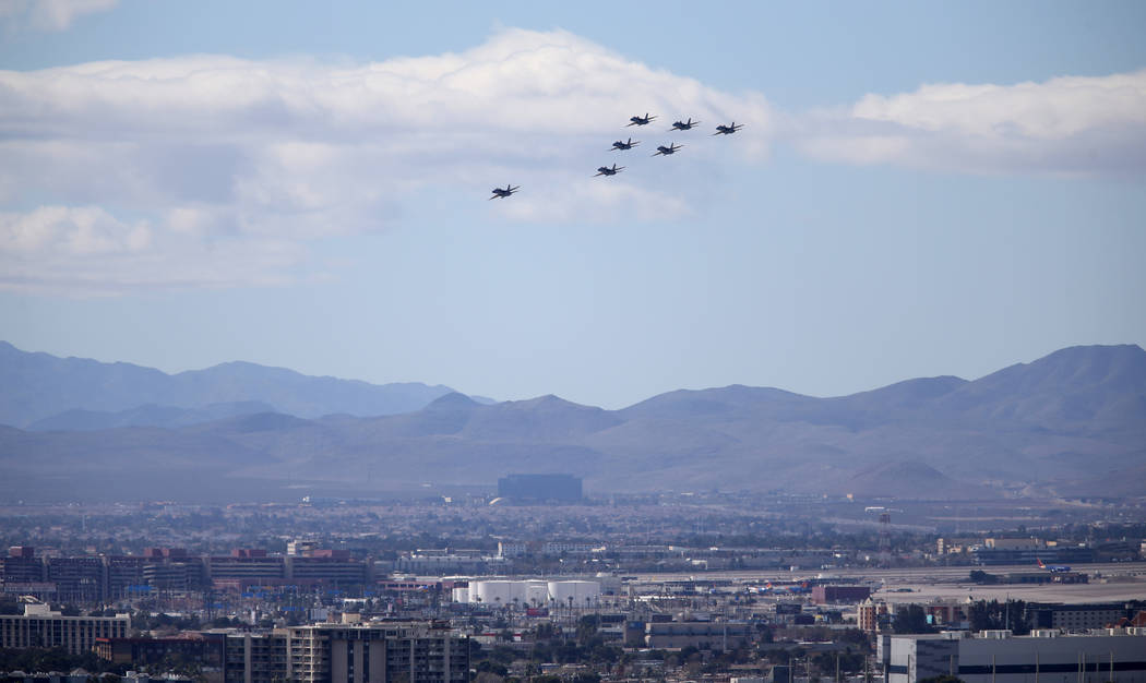 The U.S. Navy Blue Angels fly over McCarran International Airport in Las Vegas Friday, March 8, 2019. (K.M. Cannon/Las Vegas Review-Journal) @KMCannonPhoto