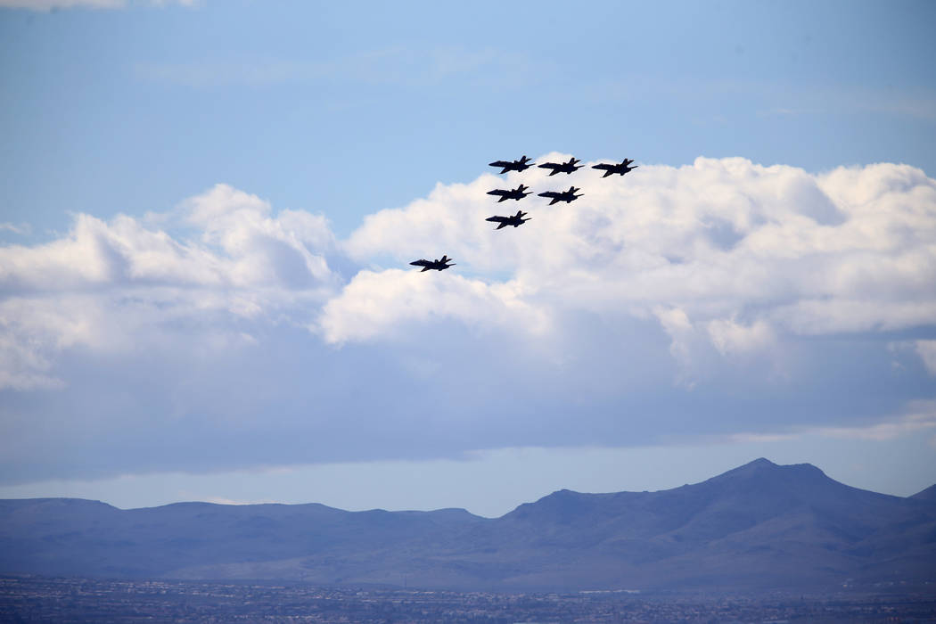 The U.S. Navy Blue Angels fly over Las Vegas Friday, March 8, 2019. (K.M. Cannon/Las Vegas Review-Journal) @KMCannonPhoto