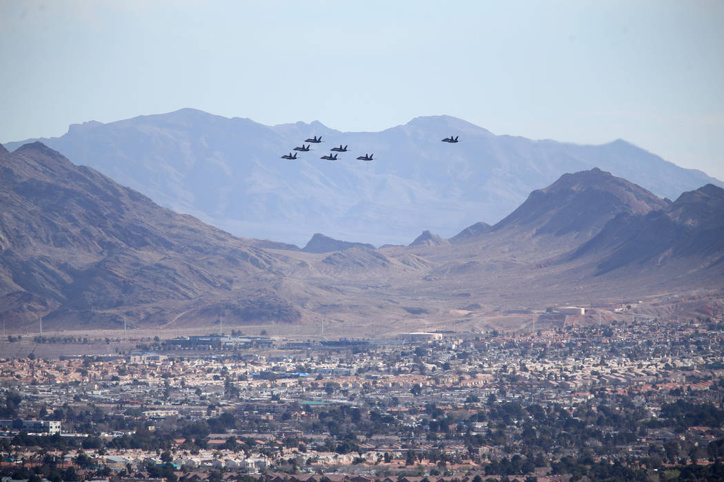The U.S. Navy Blue Angels fly over east Las Vegas, Friday, March 8, 2019. (K.M. Cannon/Las Vegas Review-Journal) @KMCannonPhoto