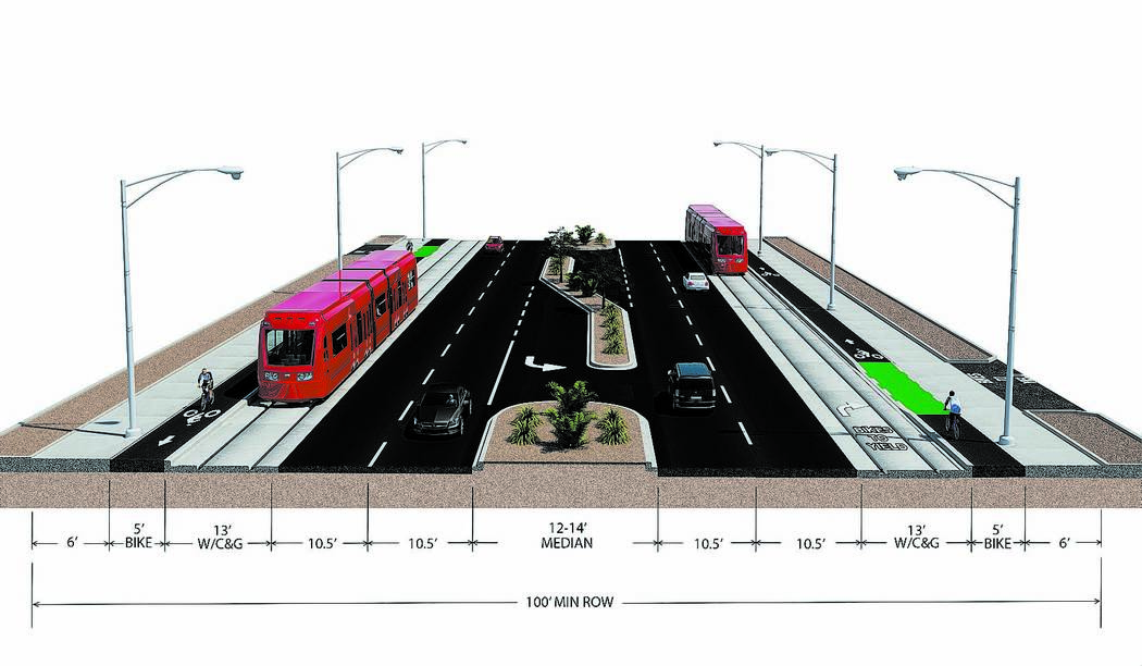 A proposed light-rail line would share curbside lanes with vehicles traveling on Maryland Parkway. The trains might not require the use of overhead electrical lines to operate. Instead, the line c ...