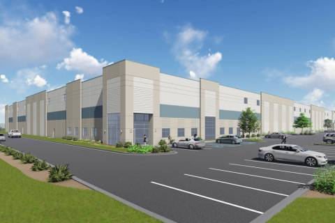 Indiana developer Becknell Industrial plans to build a nearly 300,000-square-foot warehouse project, a rendering of which is seen here, near the Las Vegas Motor Speedway. (Courtesy of Colliers Int ...