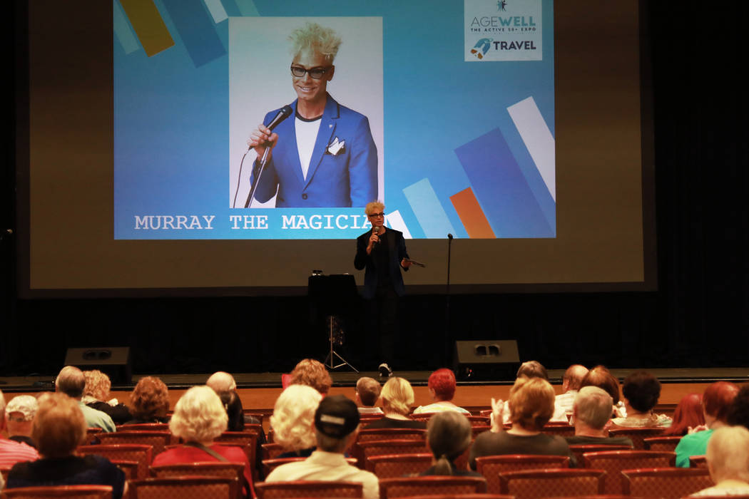 Murray the Magician addresses the crowd during the AgeWell Expo at the Rio Convention Center in Las Vegas on Saturday, April 14, 2018. Andrea Cornejo Las Vegas Review-Journal @dreacornejo