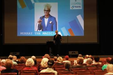 Murray the Magician addresses the crowd during the AgeWell Expo at the Rio Convention Center in Las Vegas on Saturday, April 14, 2018. (Las Vegas Review-Journal)