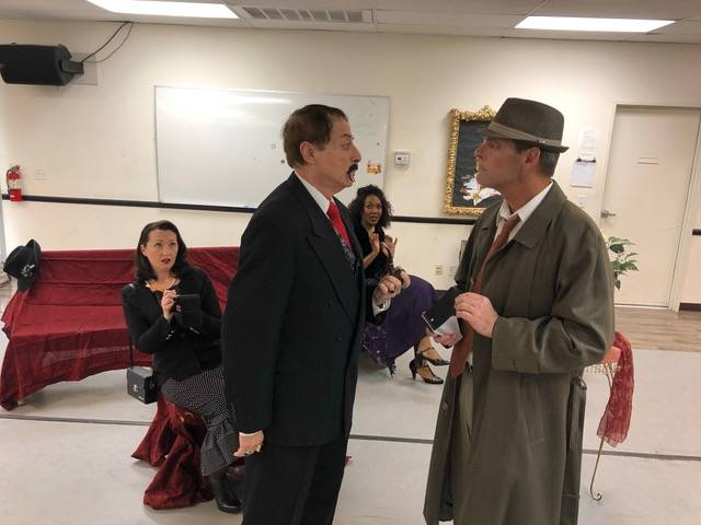 """""""Shake"""" Speare and Claude confront each other during a dress rehearsal of The Omelet Murder Case. Louise Rauckhorst."""