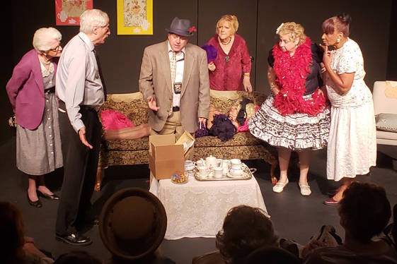 Most of the cast of Any Body for Tea? during Dennis O'Finn's investigation of a murder. Their first performance was Thursday, March 7. Louise Rauckhorst.