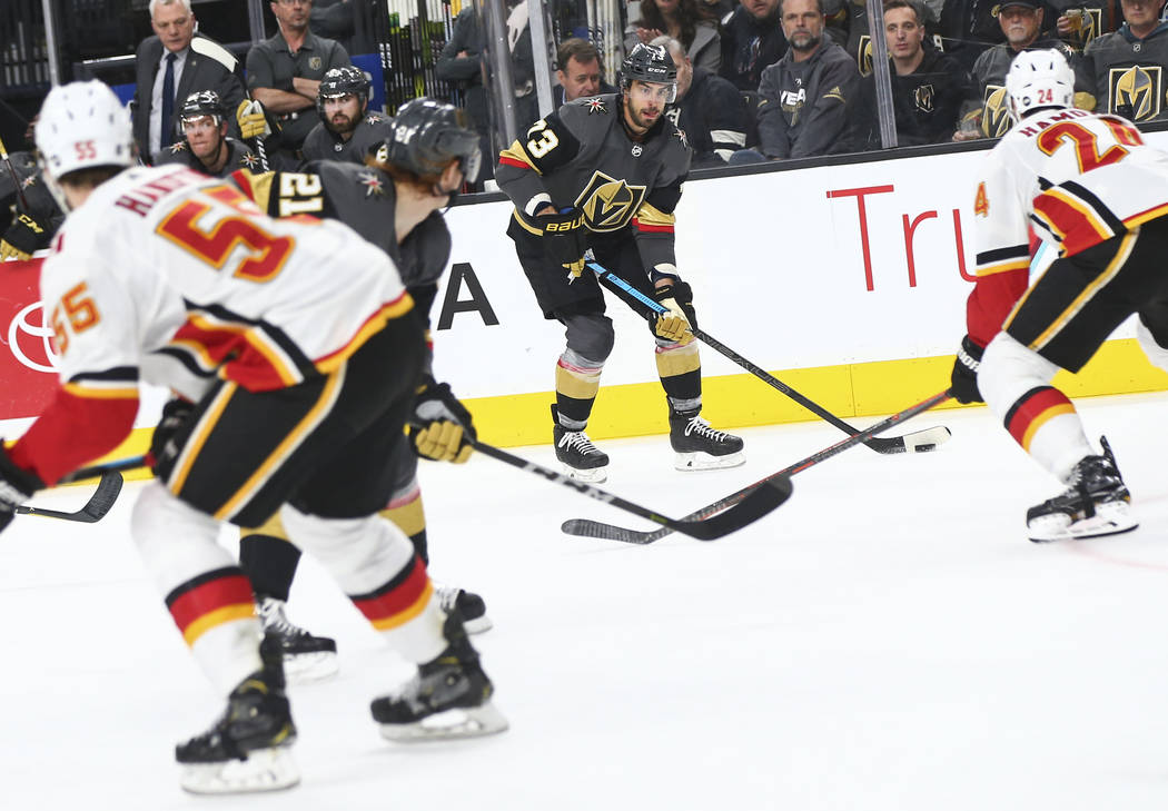 Golden Knights center Brandon Pirri (73) lines up a shot during the second period of an NHL hockey game against the Calgary Flames at T-Mobile Arena in Las Vegas on Wednesday, March 6, 2019. (Chas ...
