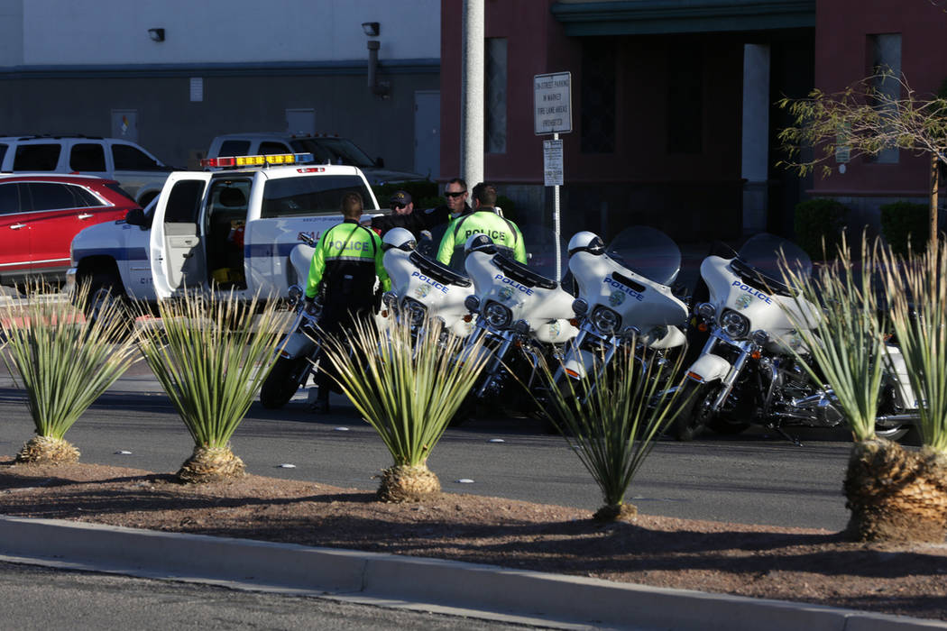 Henderson police investigate auto pedestrian accident in Henderson on Friday, March 8, 2019. (Michael Quine/Las Vegas Review-Journal) @Vegas88s