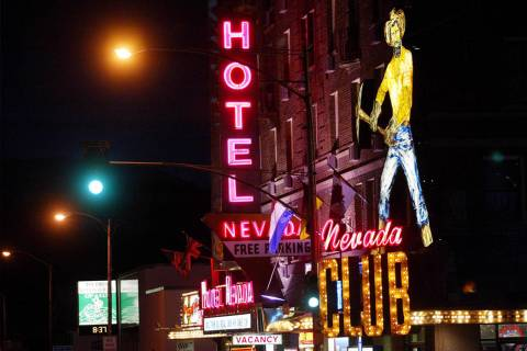 Neon lights blaze at the Nevada Hotel in downtown Ely, June 14, 2002. (Craig L. Moran/Las Vegas Review-Journal)