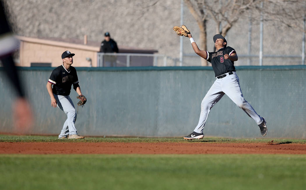 Faith Lutheran first baseman Jacob Ortega (8) catches a Silverado foul ball during a baseball game at Silverado High School in Las Vegas Friday, March 8, 2019. (K.M. Cannon/Las Vegas Review-Journa ...