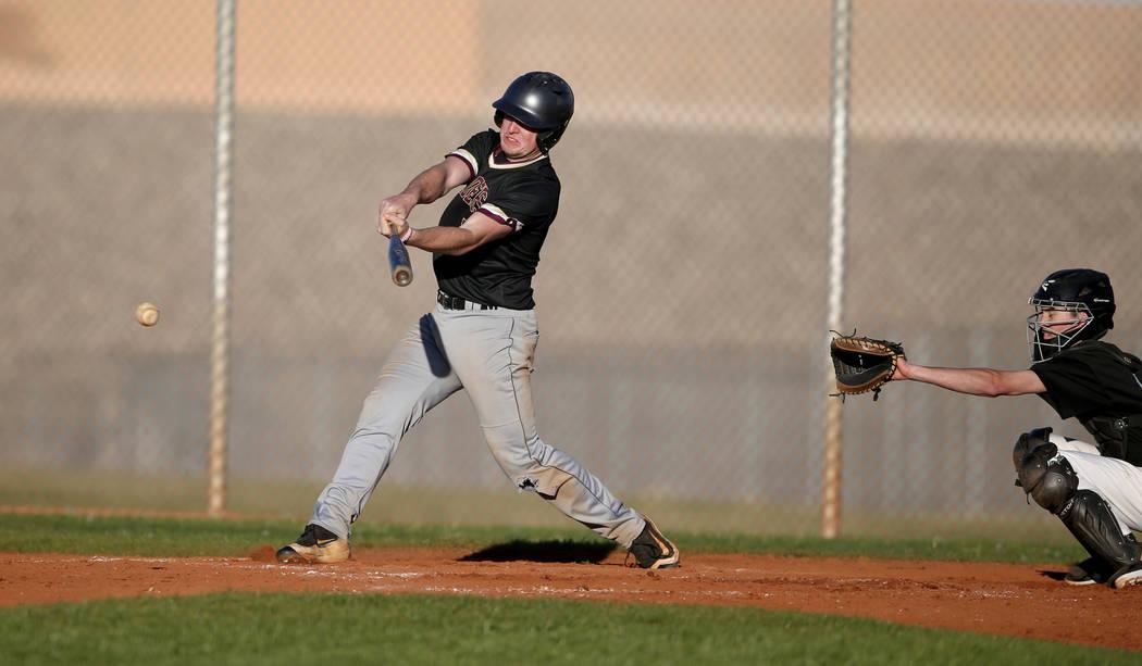 Faith Lutheran Jacob Ortega (8) gets a base hit against Silverado during a baseball game at Silverado High School in Las Vegas Friday, March 8, 2019. (K.M. Cannon/Las Vegas Review-Journal) @KMCann ...