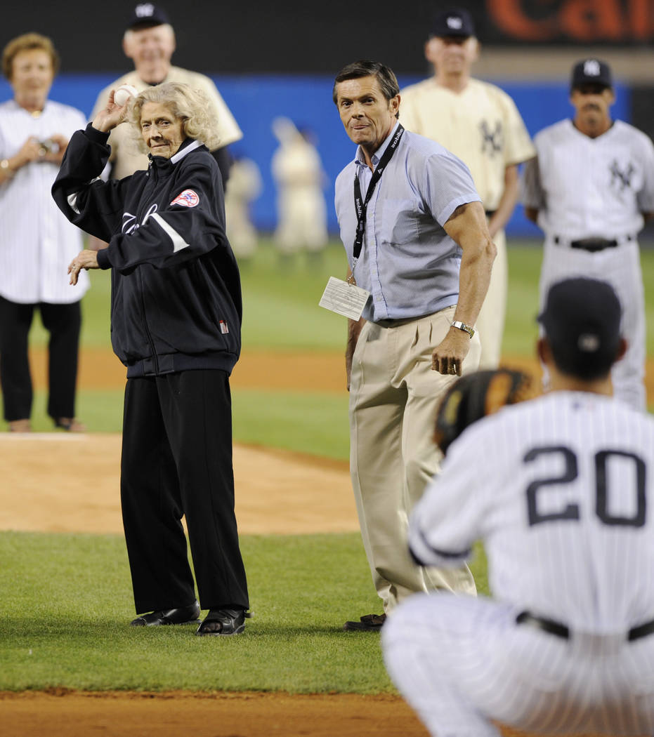 FILE*** Julia Ruth Stevens, the daughter of former New York Yankee Babe Ruth, throws a pitch to Yankees catcher Jorge Posada during ceremonies at Yankee Stadium in New York on Sunday, Sept. 21, 20 ...