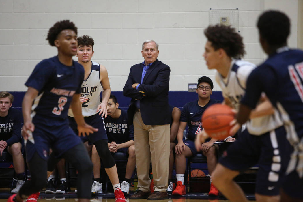 Dave Bliss coaches his team American Preparatory as they play Findlay Prep in Henderson, Wednesday, Jan. 9, 2019. Caroline Brehman/Las Vegas Review-Journal