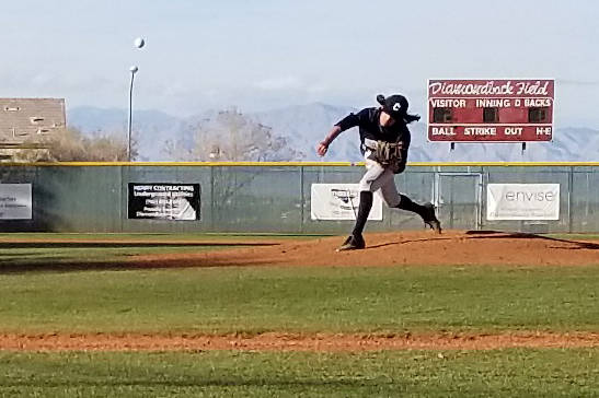 Centennial pitcher Cody Strawn throws a pitch against Arbor View on Saturday, March 9, 2019 at Desert Oasis. (Damon Seiters/Las Vegas Review-Journal)