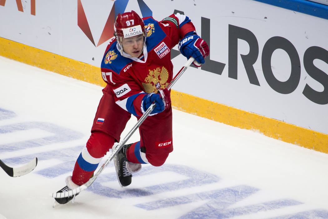 Russian Nikita Gusev is in action during the exhibition ice hockey match between Russia and Belarus in Moscow, Russia, Tuesday, Jan. 30, 2018. (AP Photo/Alexander Zemlianichenko)