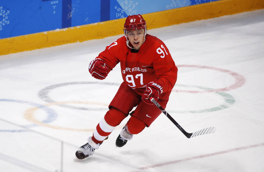 Russian athlete Nikita Gusev celebrates after scoring a goal during the third period of the men's gold medal hockey game against Germany at the 2018 Winter Olympics, Sunday, Feb. 25, 2018, in Gang ...