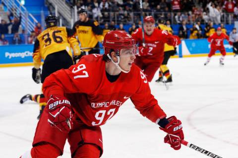 Russian athlete Nikita Gusev (97) reacts after scoring a goal during the third period of the men's gold medal hockey game against Germany at the 2018 Winter Olympics, Sunday, Feb. 25, 2018, in Gan ...