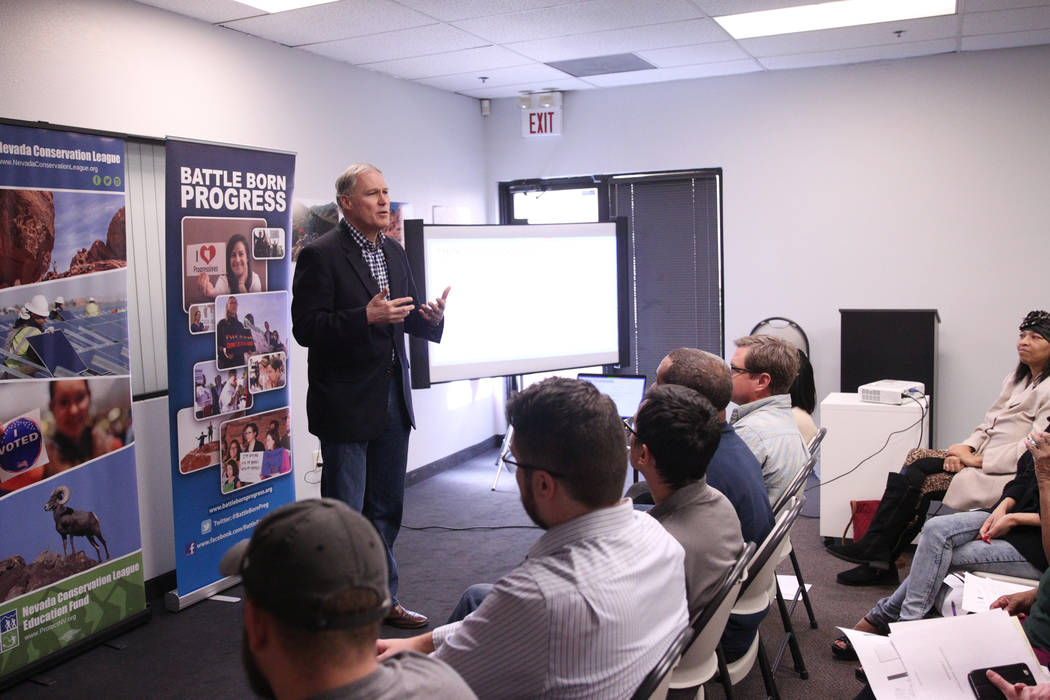 Washington Gov. Jay Inslee, a Democratic presidential candidate, speaks on climate change at the Nevada Conservation League offices in Las Vegas, Saturday, March 9, 2019. Erik Verduzco Las Vegas R ...