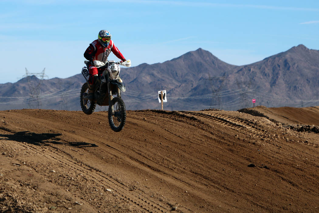 Warren Healey (40) of Parker, Colo. competes in the annual Mint 400 on Saturday, March 09, 2019, at Primm Valley Resort, outside Las Vegas. Bikes have not been allowed at the Mint 400 since 1976. ...