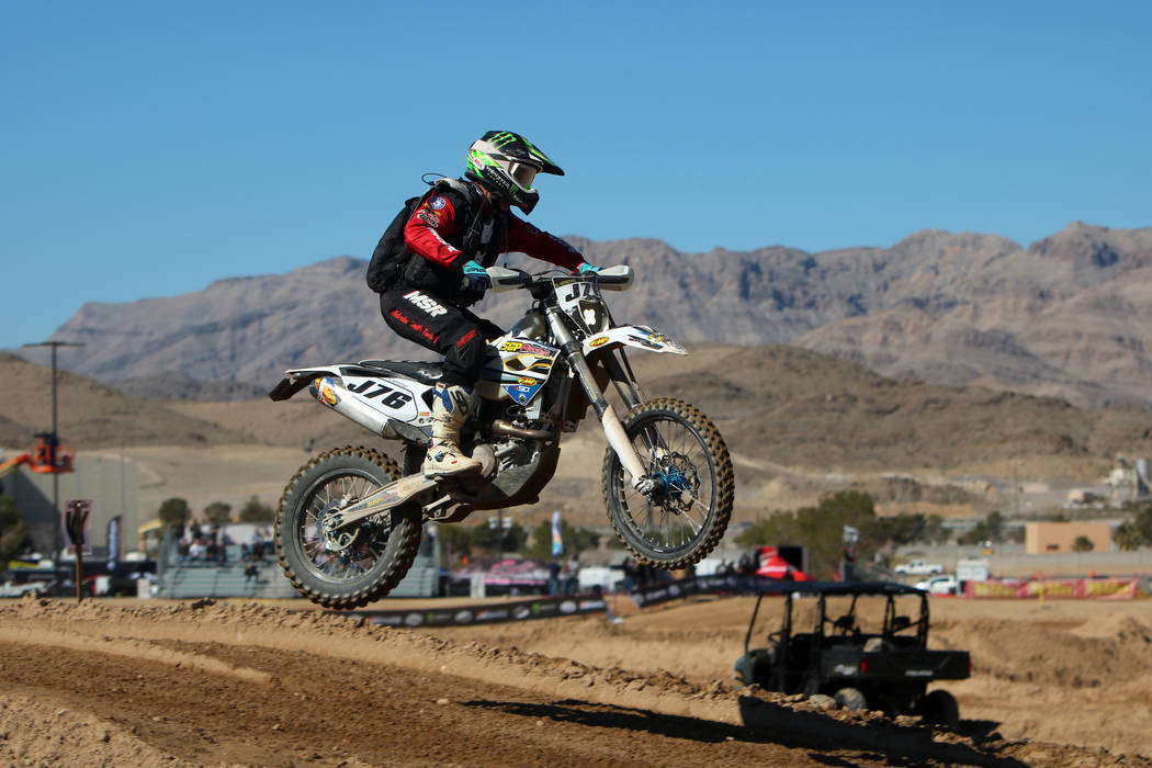 Steve Herstad (46) Bakersfeild, CA competes in the annual Mint 400 on Saturday, March 09, 2019, at Primm Valley Resort, outside Las Vegas. Bikes have not been allowed at the Mint 400 since 1976. ( ...