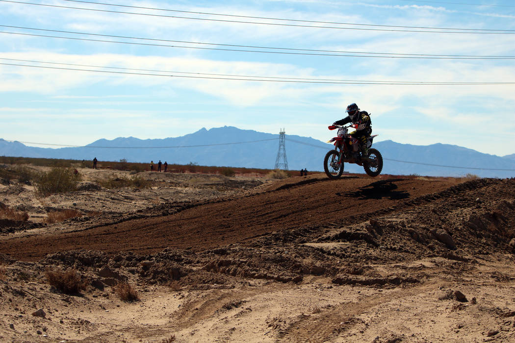 Tomas Mastor (63) of Ranchos de Taos, N.M. competes in the annual Mint 400 on Saturday, March 09, 2019, at Primm Valley Resort, outside Las Vegas. Bikes have not been allowed at the Mint 400 sinc ...