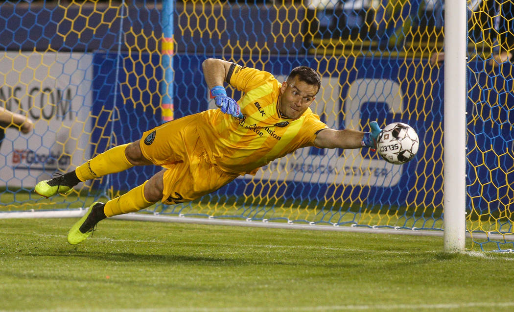 Austin Bold FC goalkeeper Diego Restrepo (24) makes a save during the first half of a United Soccer League match at Cashman Field in Las Vegas, Saturday, March 9, 2019. (Caroline Brehman/Las Vegas ...