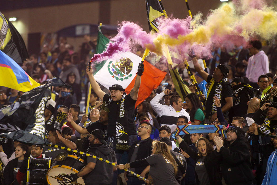 Las Vegas Lights FC fans cheer at the start of a United Soccer League match against the Austin Bold FC at Cashman Field in Las Vegas, Saturday, March 9, 2019. (Caroline Brehman/Las Vegas Review-Jo ...
