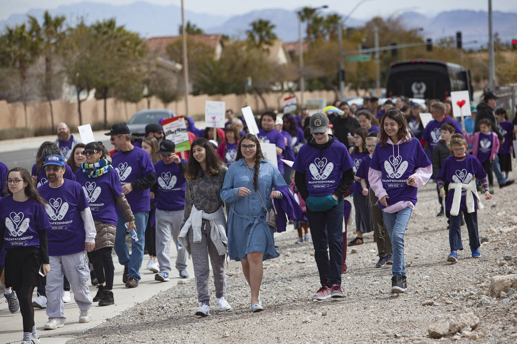 A crowd walks from Bet Yossef Community Center to Las Vegas Sports Park as part of Friendship Circle'sWalk4FriendshipLasVegas eventin Las Vegas, Sunday, March 10, 2019. Fri ...