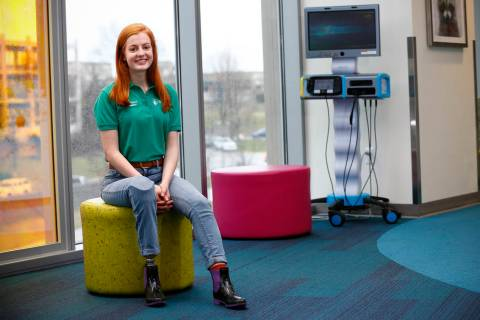 In this Wednesday, Feb. 20, 2019 photo, Lily Silverstein, of Paducah, Ky., a National Patient Ambassador for Shriners Hospitals for Children poses for a photo at Shriners Hospitals for Children in ...