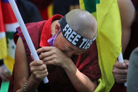 An exile Tibetan breaks down during a march to mark the 60th anniversary of the March 10, 1959 Tibetan Uprising Day, in New Delhi, India, Sunday, March 10, 2019. The uprising of the Tibetan people ...