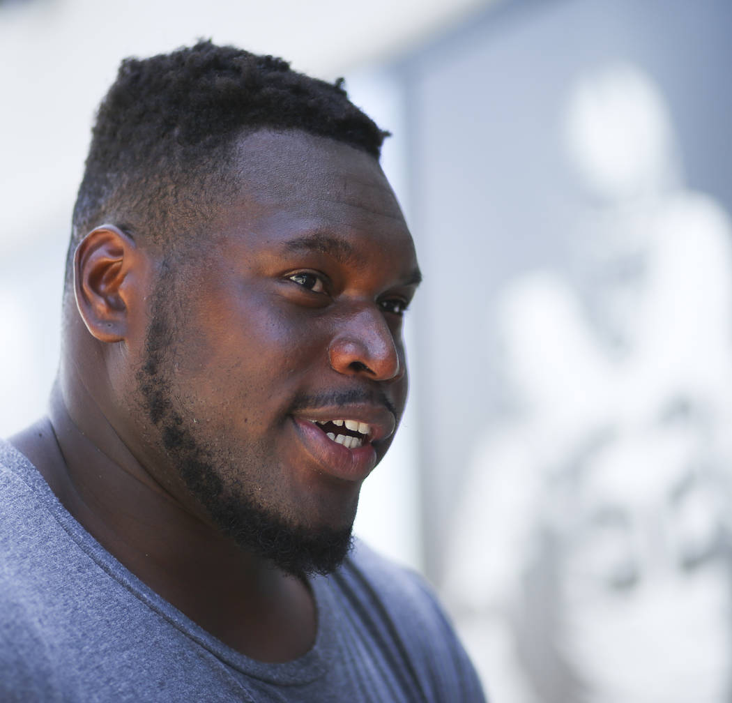 Oakland Raiders offensive guard Kelechi Osemele after finishing up with day two of a mini-camp at the Raiders headquarters. (Chase Stevens/Las Vegas Review-Journal)