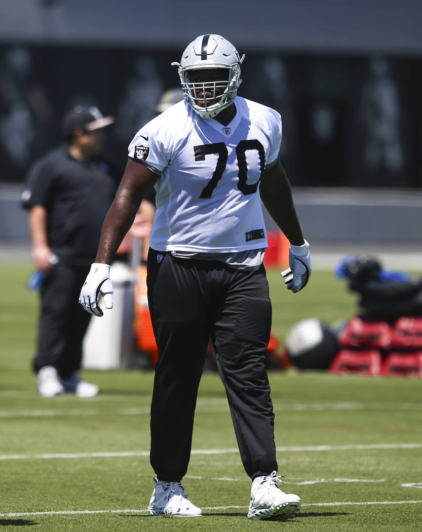 Oakland Raiders offensive guard Kelechi Osemele (70) during day one of a mini-camp at Raiders headquarters. (Chase Stevens/Las Vegas Review-Journal)