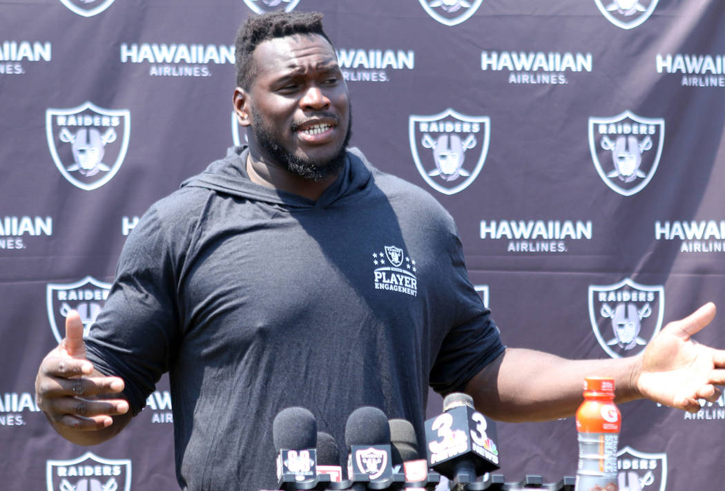 Oakland Raiders offensive tackle Kelechi Osemele answers questions from reporters at the team's NFL training camp in Napa, Calif., Saturday, July 28, 2018. Heidi Fang Las Vegas Review-Journal @Hei ...