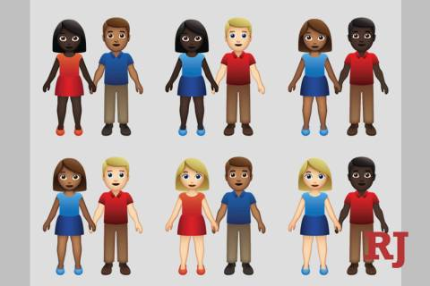 This undated illustration provided by Tinder/Emojination shows new variations of interracial emoji couples. (Tinder/Emojination via AP)
