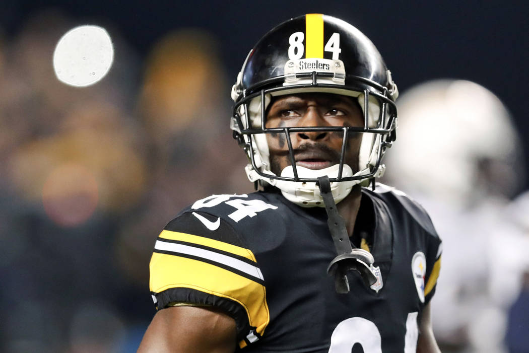 FILE - In this Dec. 2, 2018, file photo, Pittsburgh Steelers wide receiver Antonio Brown (84) plays against the Los Angeles Chargers in an NFL football game in Pittsburgh. If the Steelers trade th ...