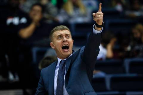 San Diego head coach Sam Scholl reacts during the second half of an NCAA college basketball game against Brigham Young, Thursday, Feb. 14, 2019, in San Diego. (AP Photo/Gregory Bull)