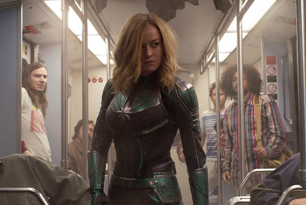 """Brie Larson stars in a scene from """"Captain Marvel."""" (Disney-Marvel Studios via AP)"""
