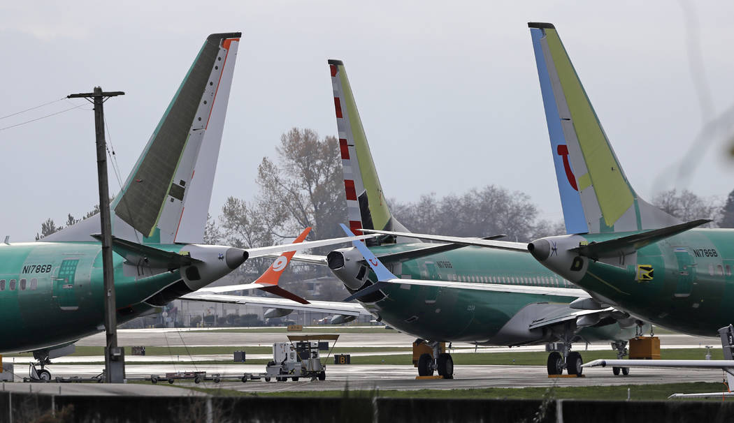 Boeing 737 MAX 8 planes are parked near Boeing Co.'s 737 assembly facility in Renton, Wash., Nov. 14, 2018. (Ted S. Warren/AP, File)