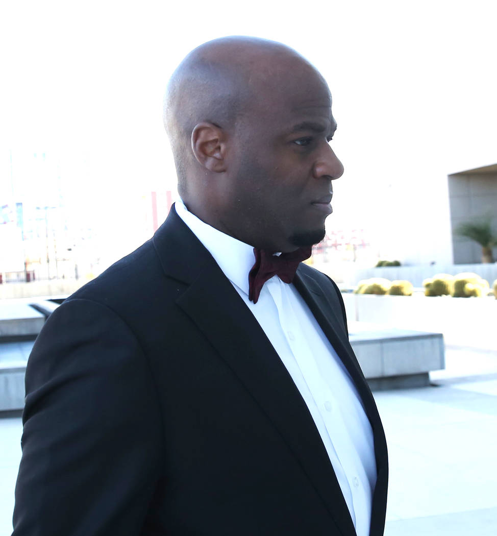 Former Nevada Senate majority leader Kelvin Atkinson arrives at the Lloyd George U.S. Courthouse on Monday, March. 11, 2019, in Las Vegas. Bizuayehu Tesfaye Las Vegas Review-Journal @bizutesfaye