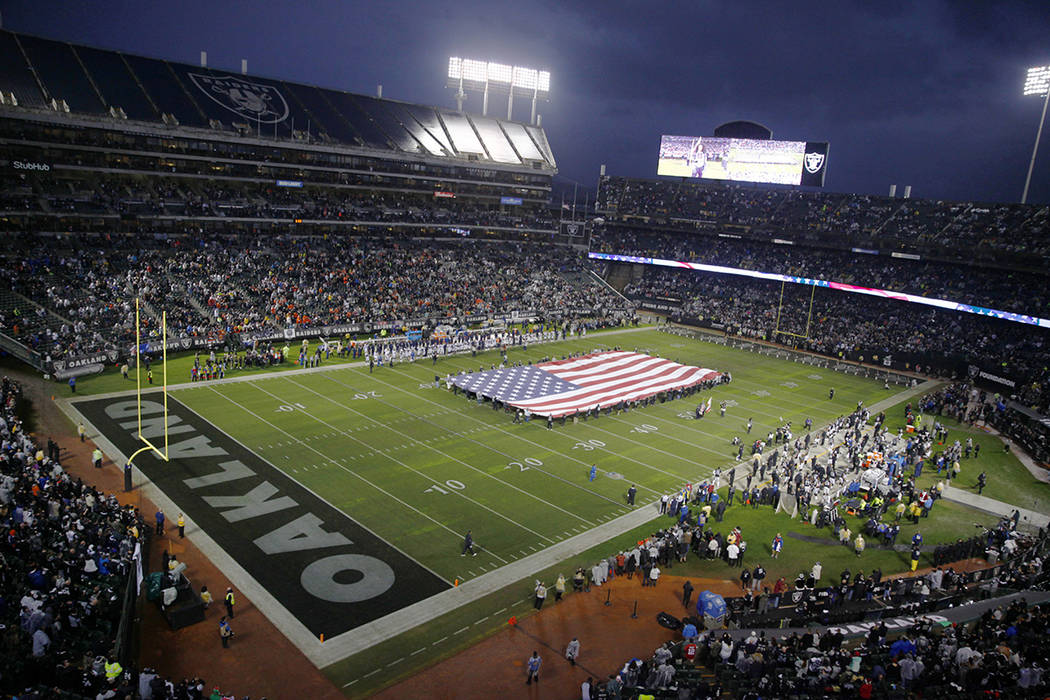 An overview of the Oakland-Alameda County Coliseum before the start of an NFL game between the Oakland Raiders the Denver Broncos in Oakland, Calif., Monday, Dec. 24, 2018. Heidi Fang Las Vegas Re ...