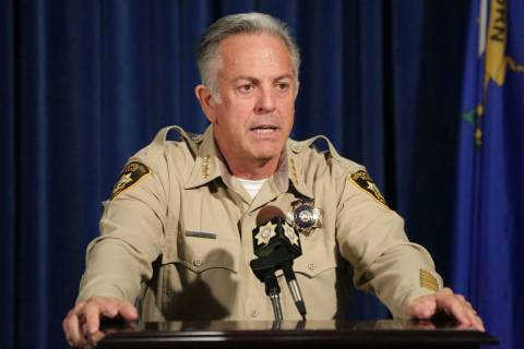 Sheriff Joe Lombardo answers questions during a press conference to announce the release of the final Criminal Investigative Report in the 1 October Mass Casualty Shooting at Las Vegas Metropolita ...
