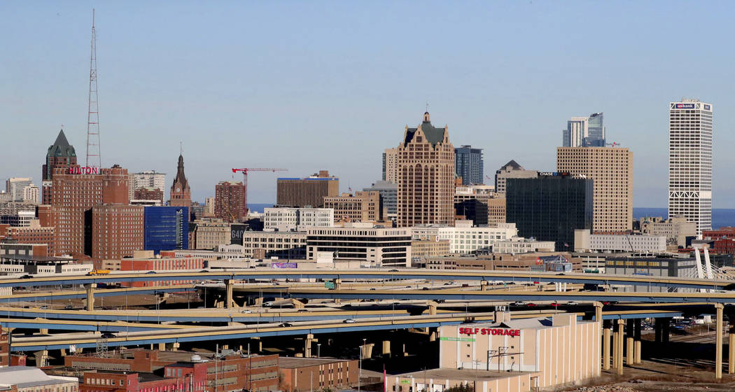 In this Dec. 17, 2018 photo, the downtown skyline is seen from the top of the Potawatomi Hotel & Casino in Milwaukee. The Democratic National Committee has selected Milwaukee to host the 2020 ...