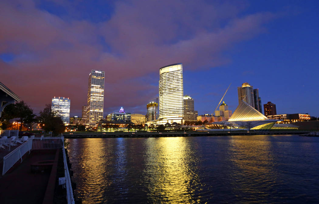 In this Oct. 31, 2017 photo, the downtown skyline over looks Lake Michigan in Milwaukee. The Democratic National Committee has selected Milwaukee to host the 2020 national convention. (Mike De Sis ...