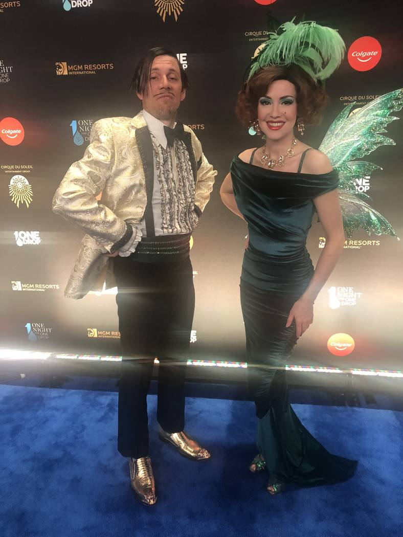 """The Gazillionaire and Green Fairy are shown on the Blue Carpet prior to """"One Night For One Drop,"""" held at O Theater at the Bellagio on Friday, March 8, 2019.( John Katsilometes/Las Vegas Review-Jo ..."""