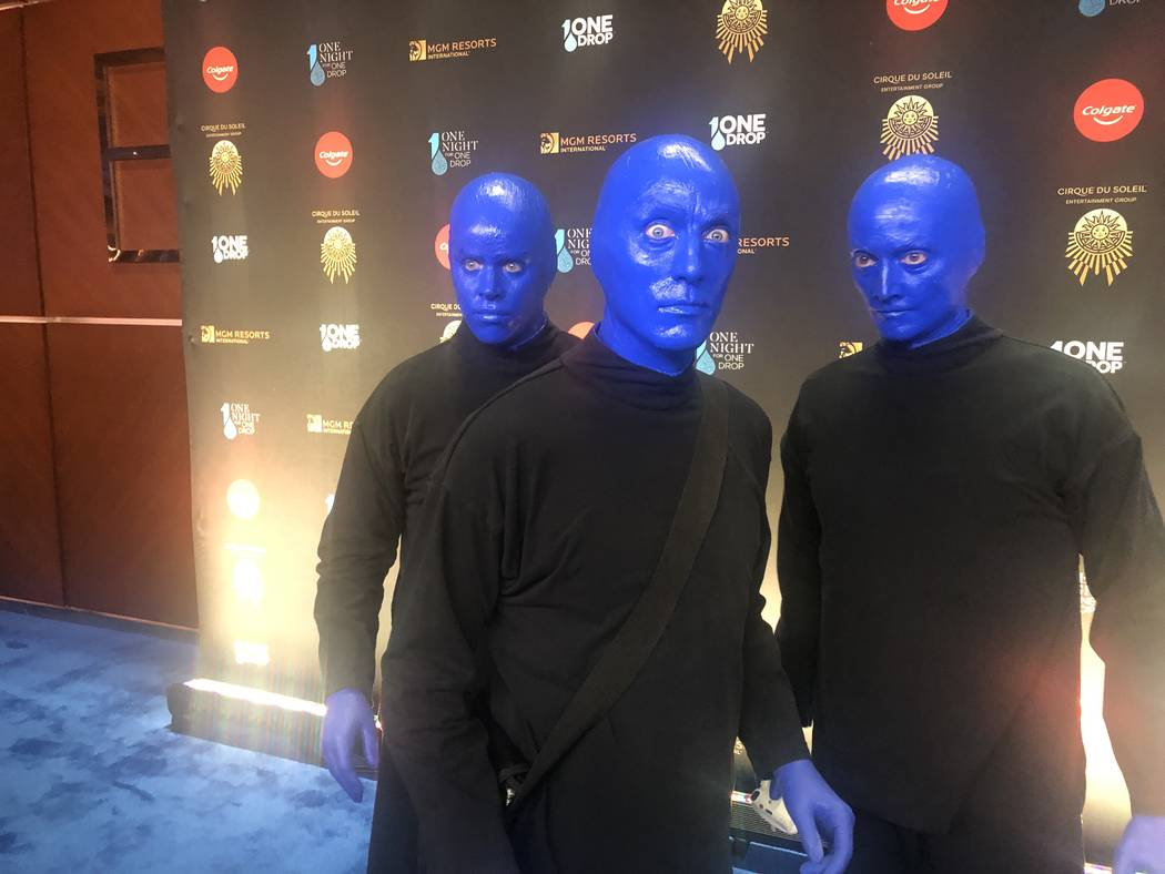 "The Blue Man Group is shown on the Blue Carpet prior to ""One Night For One Drop,"" held at O Theater at the Bellagio on Friday, March 8, 2019.( John Katsilometes/Las Vegas Review-Journal @JohnnyKats"