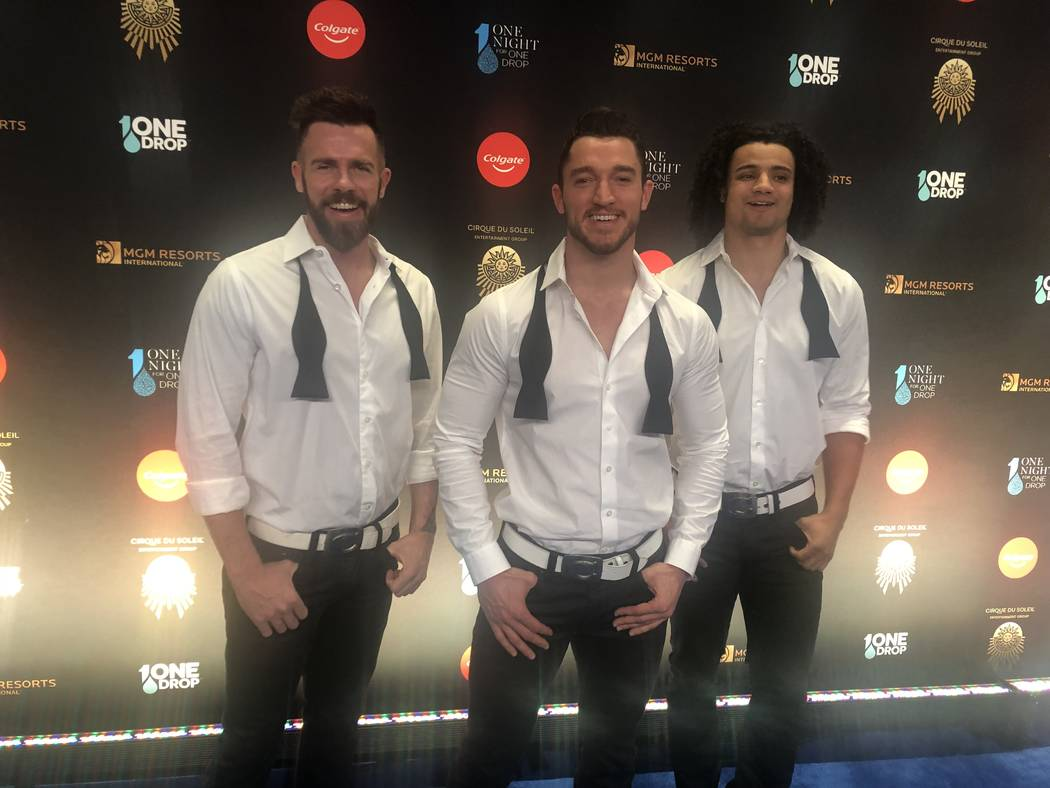 """Members of """"Chippendales"""" at the Rio are shown on the Blue Carpet prior to """"One Night For One Drop,"""" held at O Theater at the Bellagio on Friday, March 8, 2019.( John Katsilometes/Las Vegas Review ..."""
