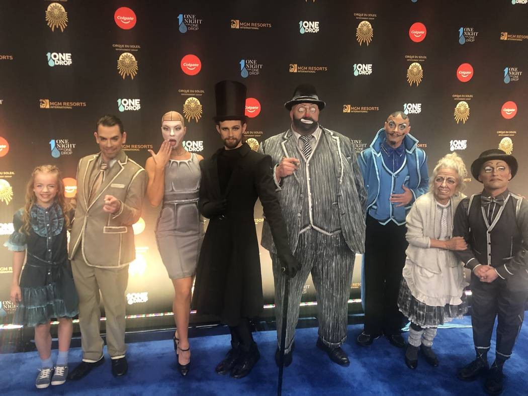 """Cirque artists are shown on the Blue Carpet prior to """"One Night For One Drop,"""" held at O Theater at the Bellagio on Friday, March 8, 2019.( John Katsilometes/Las Vegas Review-Journal @JohnnyKats"""