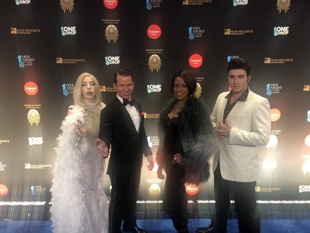 """The cast of """"Legends In Concert"""" at Tropicana is shown on the Blue Carpet prior to """"One Night For One Drop,"""" held at O Theater at the Bellagio on Friday, March 8, 2019.( John Katsilometes/Las Vega ..."""