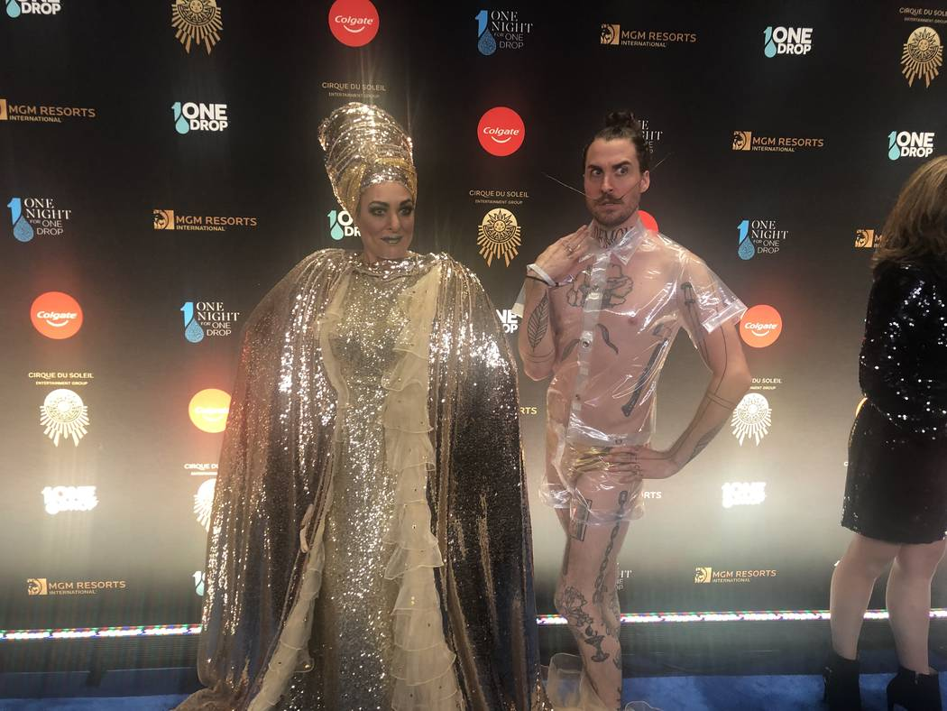 """Miss Behave and Tiffany of """"Miss Behave Game Show"""" at Bally's are shown on the Blue Carpet prior to """"One Night For One Drop,"""" held at O Theater at the Bellagio on Friday, March 8, 2019.( John Kats ..."""